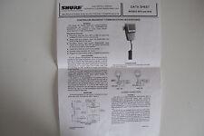 SHURE 401A/B (DATA SHEET ONLY)...........RADIO_TRADER_IRELAND.