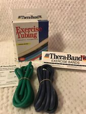 Thera-Band 18 Ft Medium Resistance Exercise Bands & Box Of 2 Green & Blue Tubing