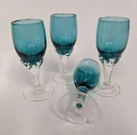 4 Piece Cordial Wine Glasses Teal Bowl Clear Stems Stemware Barware Glassware