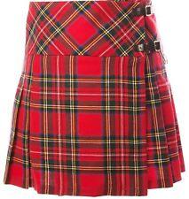 "Ladies Pure Wool Tartan Billie Kilt 15"" Length Stewart Royal"