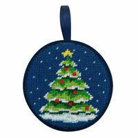 "Alice Peterson Stitch Ups 4"" Round Needlepoint Ornament Kit -Christmas Tree"