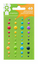 Imaginisce FAMILY FUN (40) ENAMEL DOTS scrapbooking 3 SIZES 8 BRIGHT COLORS
