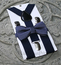 Kids Boys Baby Suspenders Navy Blue bow tie 6mo-2T 3T 4T 5T baby prop Set navy
