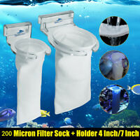 200 Micron Bag Aquarium Fish Tank BUBBLE Filter Sump Felt Sock Mesh Net  */!