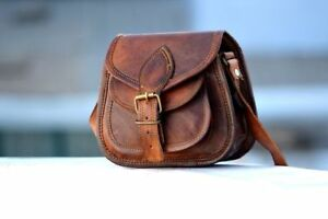 Women Vintage Looking Brown Leather Messenger Handmade Purse Cross Body Bag 5pcs