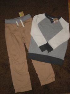 NWT Crazy 8 Boys Size 5 6 Soft Sweat Shirt & Lined Khaki Pants 2-PC OUTFIT