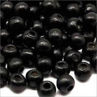 Lot de 100 Perles Rondes en Bois 6mm Noir pour Colliers Bracelets Chapelets
