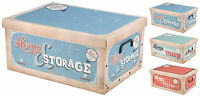 Lovely Large Vintage Retro Design Cardboard Storage Boxes with Lids & Handles