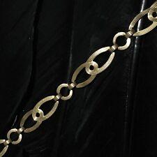 14K Double Link Bracelet 7.5� Long Antique Art Deco Estate Sterling Silver &