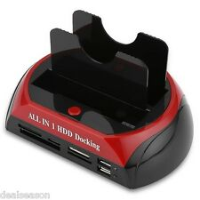 875 All in one eSATA Dual IDE HUB HDD Docking Station Card Reader EU PLUG