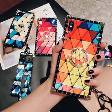 For Samsung Galaxy A71 A72 A51 A32 A21 A12 A11 Cute Bling Checkered Square Case