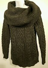 Aran Mor 100% Irish Merino Wool Cowl Neck Charcoal Heavy Cable Knit sz S/Small