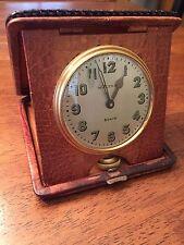 1926 Waltham 8 Day Travel Clock With Original Caiman Alligator Case Watch Runs