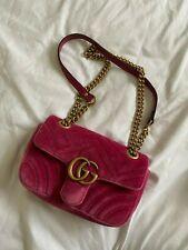 GUCCI GG Marmont Dark Pink (FUCHSIA) Velvet Shoulder Bag Small Size