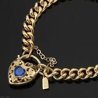 18K Yellow Gold GL Women's Solid Medium Euro Bracelet & Sapphire Heart 18cm