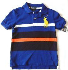 Ralph Lauren Boys Polo Shirt Size 4 NWT Big Pony Blue Stripe Short Sleve Cotton