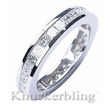 2.20ct Diamond Chunky Platinum Ring Princess Cut F VS1 Full Eternity Wedding