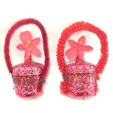 Wired Glass Chenille Flower Basket Christmas Ornaments