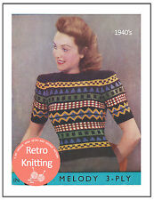 1940s Fair Isle Sweater Vintage Knitting Pattern - Copy