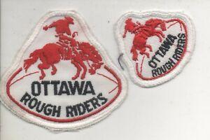"Vintage CFL Ottawa Rough Riders 2-patch lot  2"" & 3"""