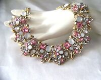Luscious Retro Vintage Style PINK Crystal  Rhinestone & Glass Necklace