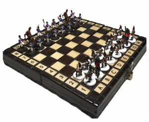 Luxury historic handcrafted chess set 1812 War Napoleon-Russia tin painted