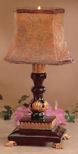 BEIGE FLOWER,FLORAL LAMP SHADE CANDLE+BROWN,GOLD RESIN FANCY STAND,HOLDER-77053