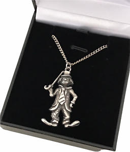"""Vintage Sterling Silver Old Clown with Cane & Tie Pendant 18"""" Chain Necklace"""