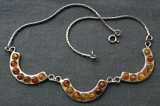 "STERLING SILVER COOL AMBER CHOKER COLLAR NECKLACE 16"" 925 SOLID"