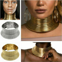 HOT African Jewelry Vintage Necklace Metallic Coil Adjustable Choker Maxi Collar