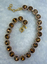 NEW J. CREW JUMBO BRULEE NECKLACE FACETED GLASS STONES TAUPE SMOKEY BROWN