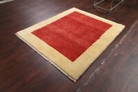 Thick Pile Contemporary Modern Brick Red Gabbeh Area Rug Hand-Knotted WOOL 5'x6'
