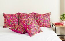Beautiful Pink Handmade Cushion Cover Embroidery Work Dupioni Silk Pillow cover