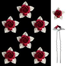 6 épingles pics cheveux chignon mariage mariée fleurs roses en métal rouge blanc