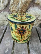 BEAUTIFUL HAND PAINTED STONEWARE CLAY POTTERY POT w/ COVERED LID Made in Japan