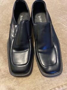 Borelli Broadway Mens US 10 Loafers Black Leather Slip On Shoes Square Toe
