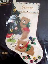 TEDDY BEARS trimming TREE vtg JEWELLED felt CHRISTMAS mantle STOCKING KIT new