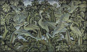 Wayan Rapet v large acrylic on canvas herons+crayfish indonesia BALI artist ubud