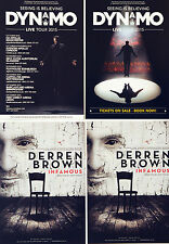 DERREN BROWN INFAMOUS & DYNAMO MAGICIAN SEEING IS BELIEVING TOUR FLYERS X 4