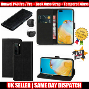Huwei P40 Pro / Pro+ Leather Flip Wallet Book Case Strap + Tempered Glass