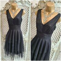MONSOON 💋 UK 8 Black Tuile Mesh Layered Fit & Flare Dress Grunge Fairy Gothic