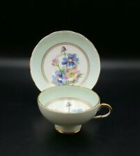 More details for foley china light blue hand painted floral tea cup and saucer-excellent