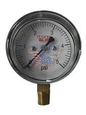 "0-5 PSI Diaphragm Gas Pressure Test Gauge 2-1/2"" Dial X 1/4"" Bottom Mount"