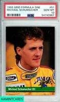 1992 GRID Michael Schumacher #51 FORMULA ONE LEGEND ROOKIE RC PSA 10 GEM MINT