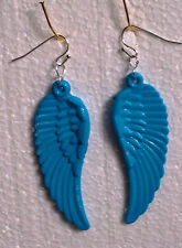Big Turquoise Guardian Angel Wing Dangly Clip-on Earrings - Acrylic