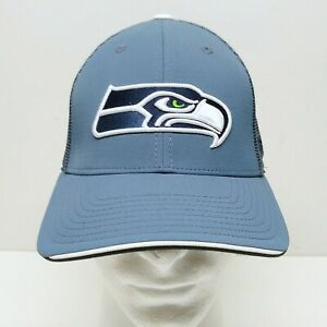 Seattle Seahawks Reebok NFL Equipment Blue Hat Cap Stretch Fit One Size Russell