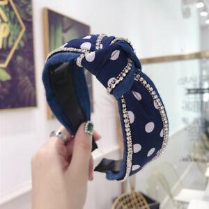 Women's Crystal Tie Headband Hairband Knot Twist Wide Hair Band Hoop Accessories