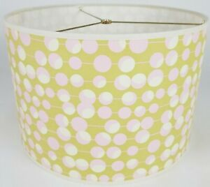 """NEW Drum Lamp Shade 15"""" Dia 10"""" H Contemporary Pink Dots on Green Fabric"""