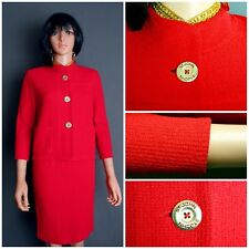 STUNNING ST.JOHN TEXTURED KNIT SUIT 2PC. JACKET & SKIRT,POPPY RED,SZ 10 M,CHIC!