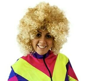 Ladies Blonde Curly Wig Perm Boogie Disco 80s Fancy Dress Costume Accessory